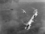 Aerial View of Navy Ship Maneuver