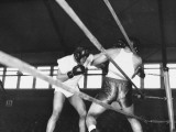 Boxer Joe Louis Fighting in Boxing Match