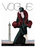 Vogue Cover - October 1929 - Fur Fashion Reproduction d'art par Georges Lepape