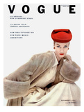 Vogue Cover - November 1951 - Red Hat  Fur Coat