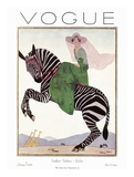 Vogue Cover - January 1926 - Zebra Safari Reproduction d'art par André E. Marty