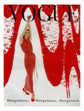 Vogue Cover - December 1958 - Paint the Town Red