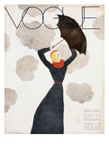 Vogue Cover - February 1933 - Umbrella Weather Reproduction d'art par Georges Lepape
