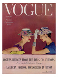 Vogue Cover - March 1954 - Floral Hats