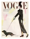 Vogue Cover - March 1947 - Dachshund Stroll Giclee par René R. Bouché