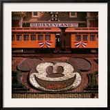 Planted Flowers Forming Design of Mickey Mouse's Face  with Disneyland Train in Background