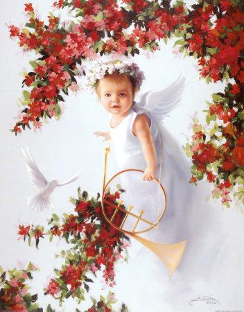 Baby Angel III Print zoom view in room