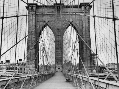 Pedestrian Walkway on the Brooklyn Bridge Stretched Canvas Print