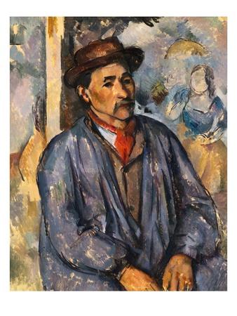 Homme en blouse bleue œuvre par Paul Cezanne