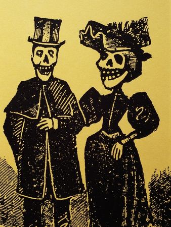 Detail Showing Skeletal Couple from El Gran Paneon Amoroso by Jose Guadalupe Posada Stretched Canvas Print