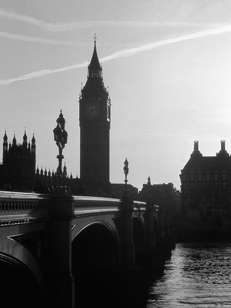 View of Big Ben from Across the Westminster Bridge Stretched Canvas Print