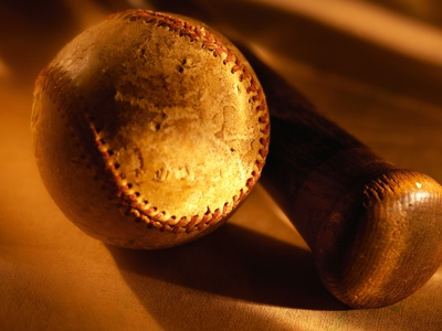 Old Baseball and Baseball Bat Stretched Canvas Print