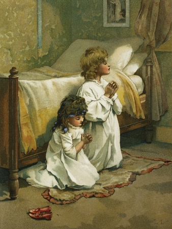 Book Illustration of Children Praying by Lizzie Lawson Stretched Canvas Print