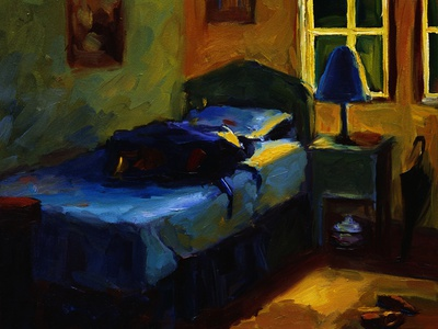 Bed in Leslie's Cottage Stretched Canvas Print