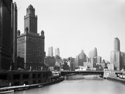 Chicago Skyline and River Stretched Canvas Print