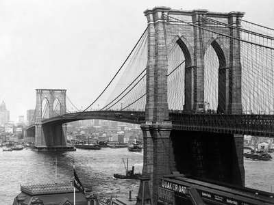 Brooklyn Bridge, New York Stretched Canvas Print