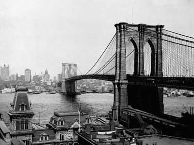 Brooklyn Bridge Over East River and Surrounding Area Stretched Canvas Print