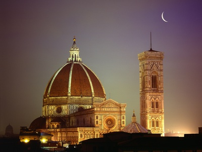 Duomo and Campanile of Santa Maria del Fiore Seen from the West Stretched Canvas Print