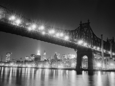 Queensboro Bridge and Manhattan at Night Stretched Canvas Print