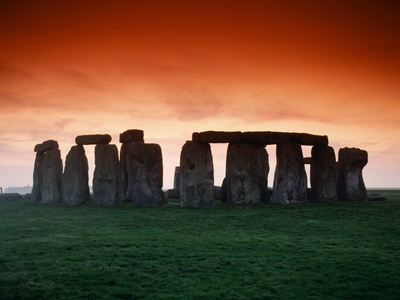 Red Sky over Stonehenge Stretched Canvas Print