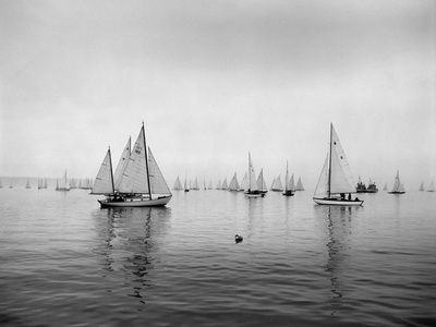 Sailboats Waiting to Race Stretched Canvas Print