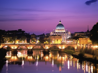 Sant'Angelo Bridge over Tiber River Stretched Canvas Print
