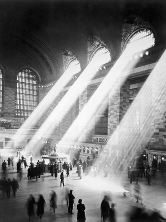 Sunbeams in Grand Central Station Stretched Canvas Print