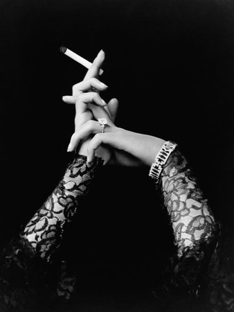 Woman's Hands Holding Cigarette Stretched Canvas Print