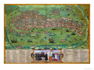 "Map of Venice, from ""Civitates Orbis Terrarum"" by Georg Braun and Frans Hogenberg, circa 1572 Stretched Canvas Print"