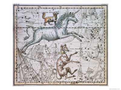 "Monoceros, from ""A Celestial Atlas,"" Published in 1822 Stretched Canvas Print"