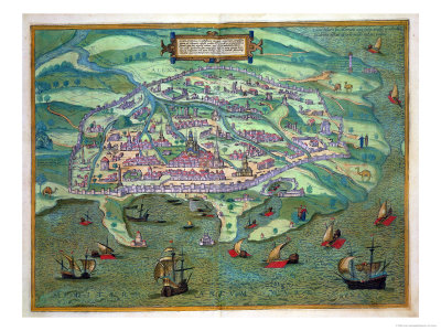 "Map of Alexandria, from ""Civitates Orbis Terrarum"" by Georg Braun and Frans Hogenberg, circa 1572 Stretched Canvas Print"