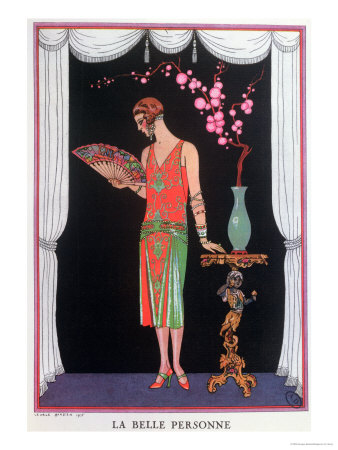 Worth Evening Dress, Fashion Plate from Gazette Du Bon Ton, 1925 Stretched Canvas Print