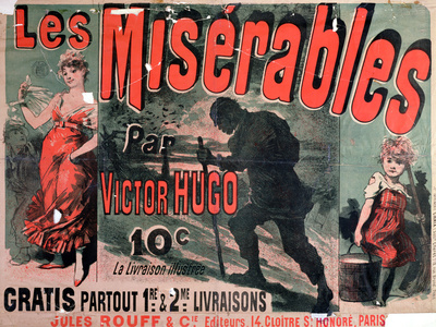 "Poster Advertising the Publication of ""Les Miserables"" by Victor Hugo 1886 Stretched Canvas Print"