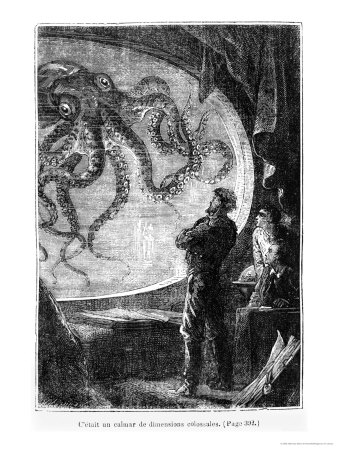 "The Nautilus Passengers, Illustration from ""20,000 Leagues under the Sea"" Stretched Canvas Print"