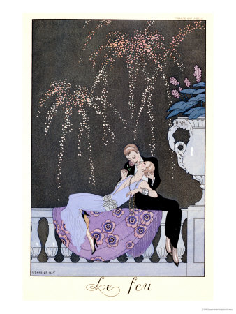 "The Fire, Illustration for ""Fetes Galantes"" by Paul Verlaine 1924 Stretched Canvas Print"