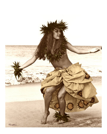 Hula Dancer in Tapa Skirt Stretched Canvas Print