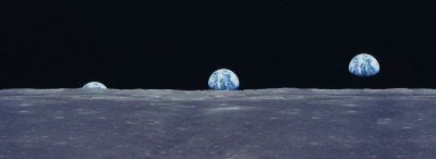 Earth Viewed from the Moon Stretched Canvas Print
