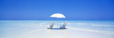 Beach, Ocean, Water, Parasol and Chairs, Maldives Stretched Canvas Print