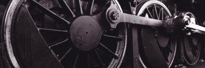 Steam Locomotive Wheels Stretched Canvas Print