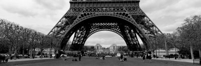 Black and White, Eiffel Tower, Paris, France Stretched Canvas Print