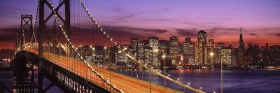 Bay Bridge Illuminated at Night, San Francisco, California, USA Stretched Canvas Print