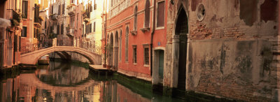 Reflection of Buildings in Water, Venice, Italy Stretched Canvas Print