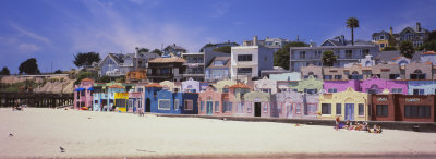 Houses on the Beach, Capitola, Santa Cruz, California, USA Stretched Canvas Print