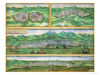 "Map of Parma, Siena, Palermo, and Drepanum, from ""Civitates Orbis Terrarum"", circa 1572 Stretched Canvas Print"
