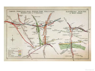 Early Map of the London Underground, Late 19th Century Stretched Canvas Print