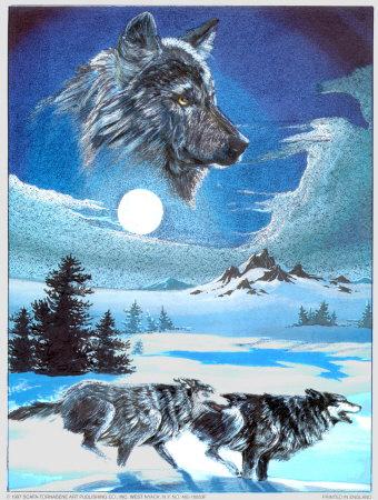Running Wolves Print by Gary Ampel at Art.com