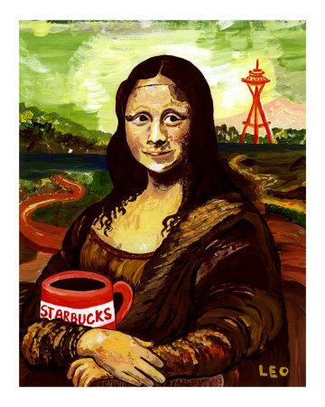 """Starbucks with Mona Lisa"" Giclee Print"