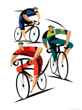 Cyclists Stretched Canvas Print