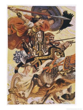 Cuchulain (Cu Chulainn) Rides His Chariot into Battle Giclee Print ...