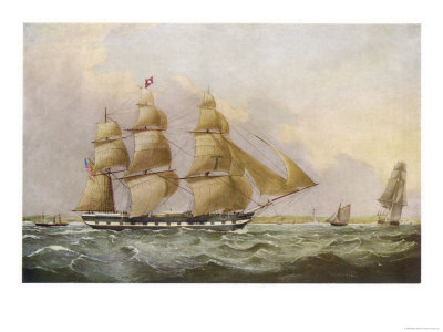American Sailing Packet Giclee Print at Art.